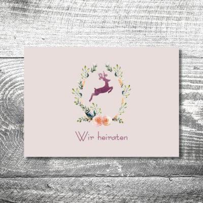 Hochzeit Hirschkranz Lila | 4-Seitig | ab 1,00 €