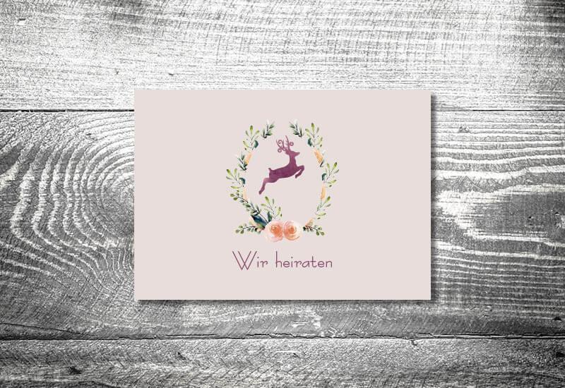 kartlerei karten drucken hochzeitseinladung heiraten bayrisch trachtenhochzeit hirschkranz lila4 - Hochzeitscountdown Freebie
