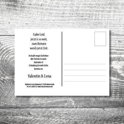 Save the Date Holz rustikal Postkarte | 2-Seitig | ab 0,70 €