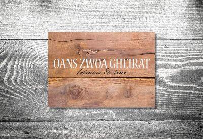 kartlerei karten drucken hochzeitseinladung heiraten bayrisch trachtenhochzeit holz rustikal8 400x275 - Dankeskarte mit Fotostreifen
