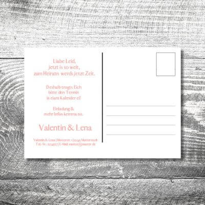 Save the Date Romantik Rosa Postkarte | 2-Seitig | ab 0,70 €