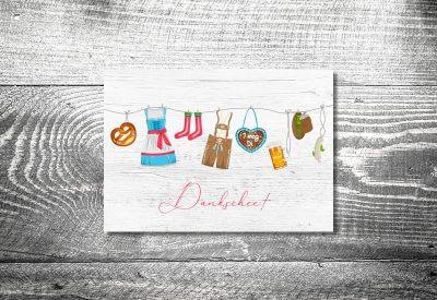 kartlerei karten drucken hochzeitseinladung heiraten bayrisch trachtenhochzeit8 400x275 - Dankeskarte mit Fotostreifen