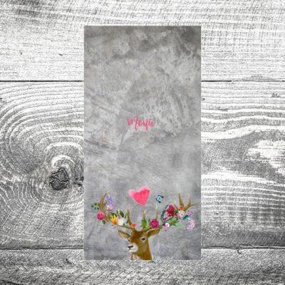 Menükarte Flower-Power-Hirsch