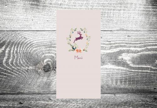 Menükarte Hirschkranz lila