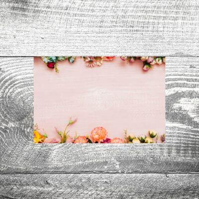 Tischkarte Holz Romantik Rosa