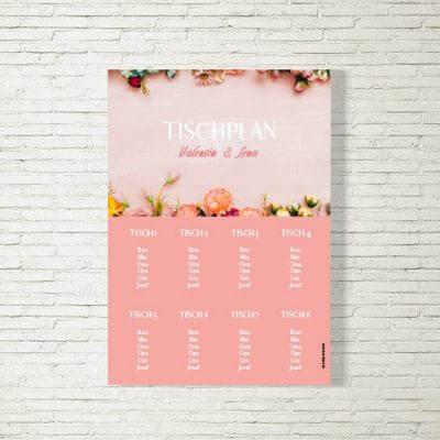 Tischplan Hochzeit Romantik Rosa
