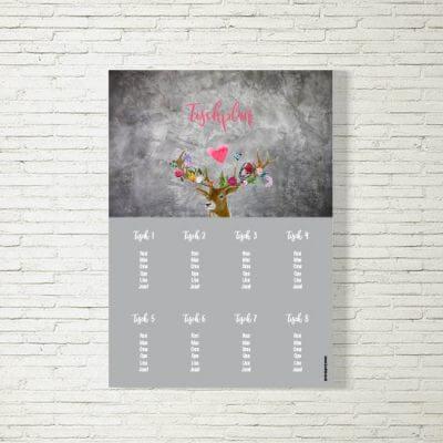 Tischplan Hochzeit Flower-Power-Hirsch