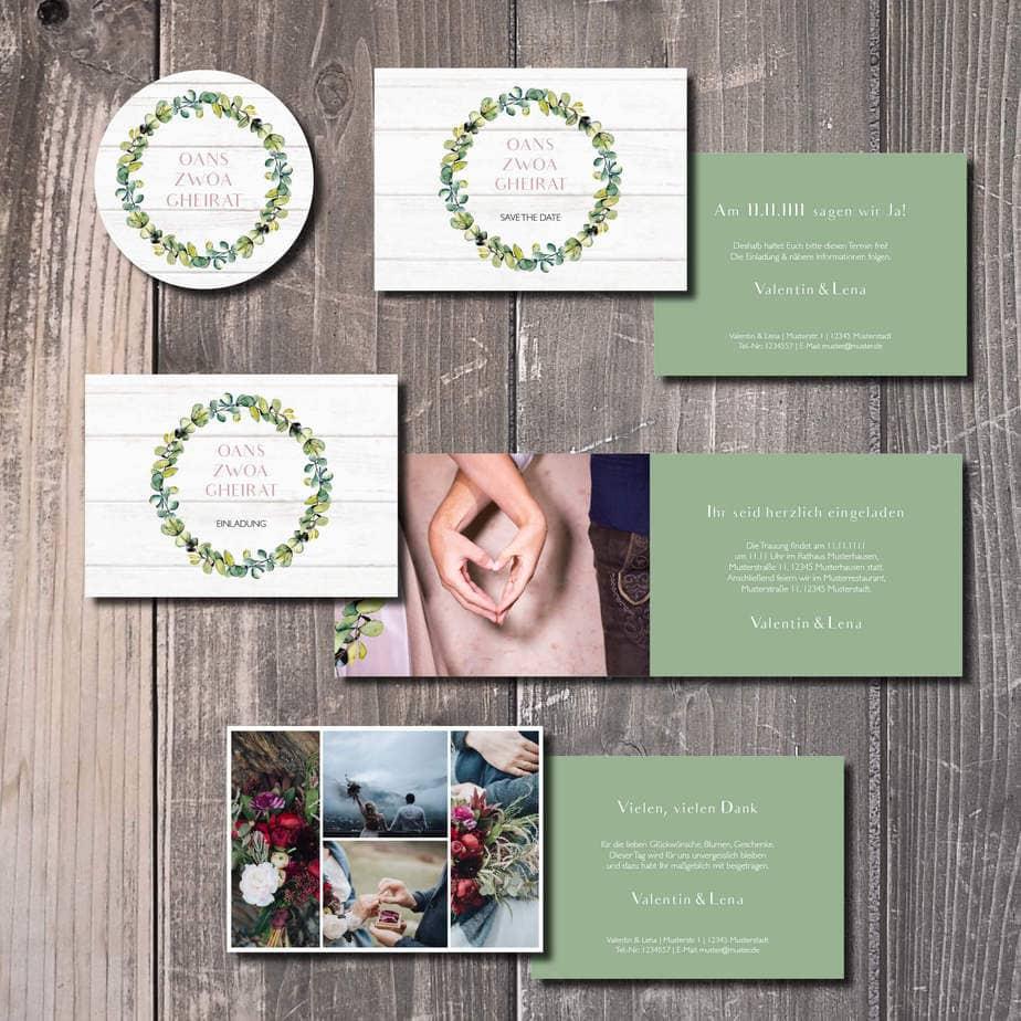 kartlerei hochzeitseinladung bayrisch kartlerei 2019 bayrisches vintage - Hochzeitskarten Set