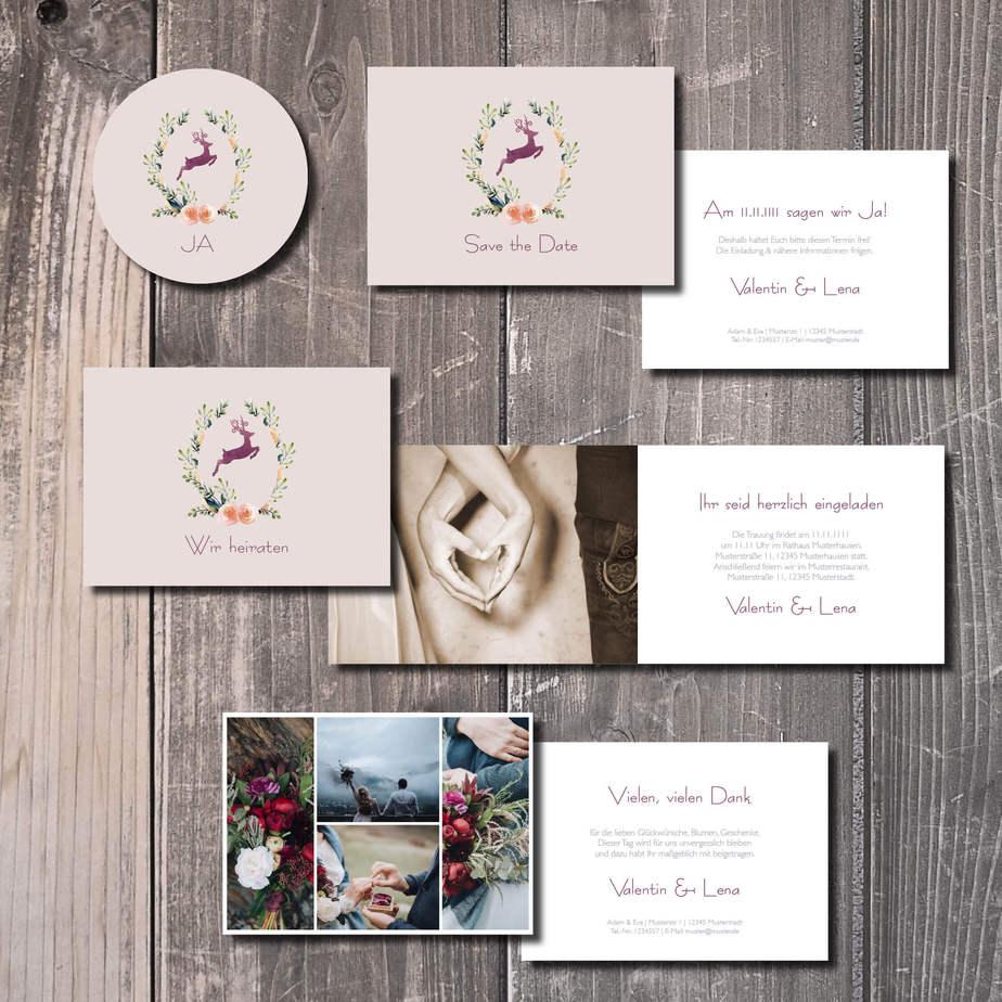 kartlerei hochzeitseinladung bayrisch kartlerei 2019 hirschkranz lila - Hochzeitskarten