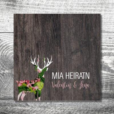 Hochzeit Blumenhirsch | 6-Seitig | ab 1,90 €