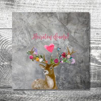 Hochzeit Flower-Power-Hirsch | 6-Seitig