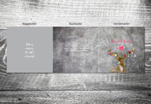 Hochzeit Flower-Power-Hirsch | 6-Seitig | ab 1,90 €
