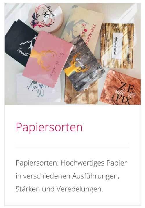 kartlerei papiersorten papierauswahl - Karten & Bierdeckel Formate