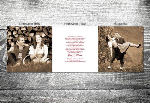 Hochzeit Karoherzchen | 6-Seitig