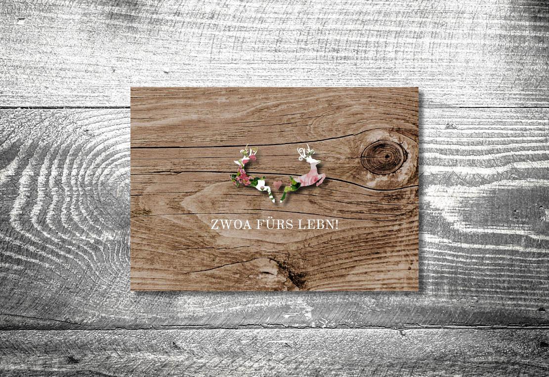kartlerei einladung hochzeit bayrisch hochzeitseinladung bayrische hochzeitspapeterie blumenhirscherl dankeskarte - Hochzeitskarten