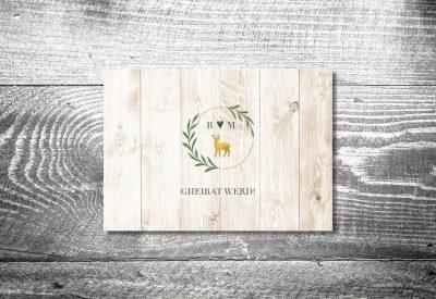 kartlerei einladung hochzeit bayrisch hochzeitseinladung bayrische hochzeitspapeterie goldhirsch einladung 400x275 - Heiraten in den Bergen