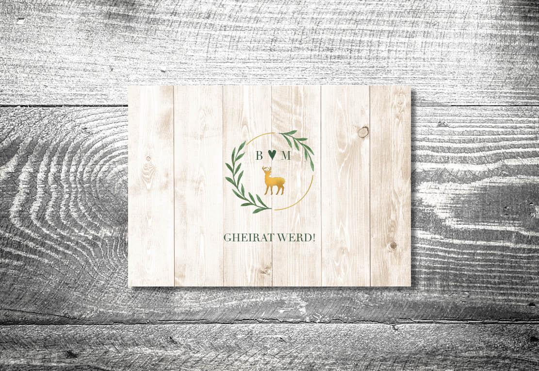 kartlerei einladung hochzeit bayrisch hochzeitseinladung bayrische hochzeitspapeterie goldhirsch einladung - Hochzeitskarten Set
