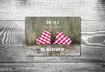 kartlerei einladung hochzeit bayrisch hochzeitseinladung bayrische hochzeitspapeterie karoherzchen dankeskarte 400x275 - Dankeskarte mit Fotostreifen