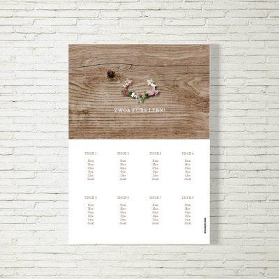 Tischplan Hochzeit Blumenhirscherl