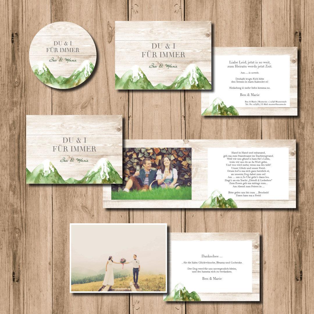 kartlerei hochzeitspapeterie 2020 bayrische einladungskarten hochzeit bierdeckel bergliebe sommer - Hochzeitskarten Set – Alles muss perfekt sein!