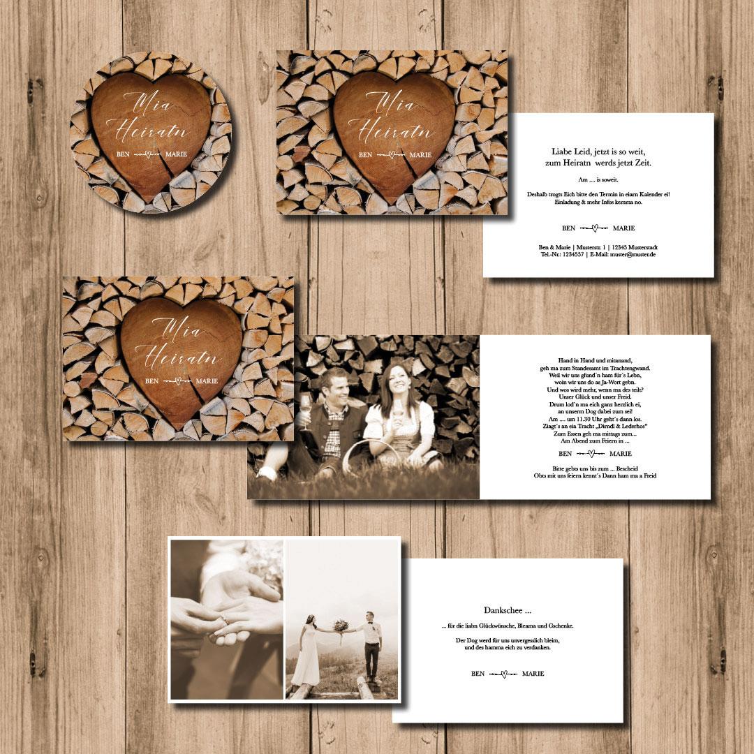 kartlerei hochzeitspapeterie 2020 bayrische einladungskarten hochzeit bierdeckel herzchenstapel - Hochzeitskarten