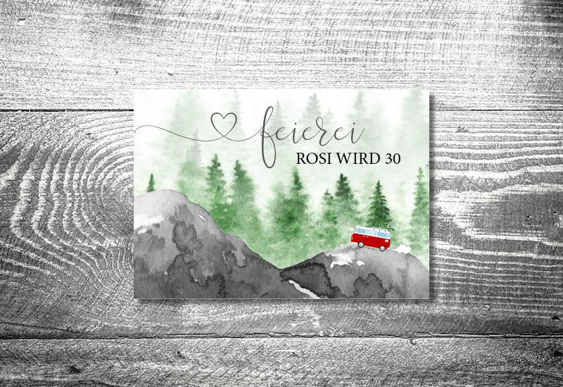 kartlerei bayrische einladungskarten geburtstagseinladung busliebe retrobus foto rosi II - Foto Rosi