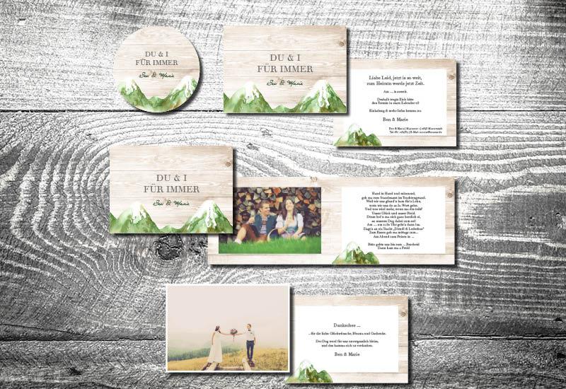 kartlerei bayrische hochzeitseinladung bergliebe berghochzeit hochzeitskarten set - Hochzeitskarten