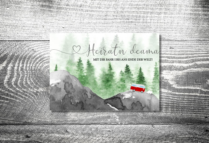kartlerei bayrische hochzeitseinladung bus liebe foto rosi II einladungskarte - Hochzeitskarten Set