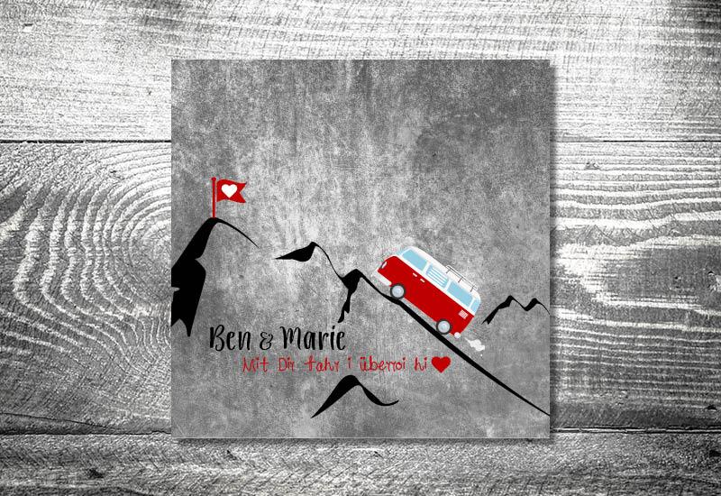 kartlerei bayrische hochzeitseinladung bus liebe foto rosi einladungskarte klappkarte wickelfalz - Foto Rosi Retro Fotobox