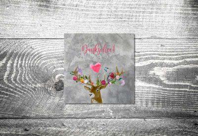kartlerei bayrische dankeskarten hochzeit leporello klappkarte flower power hirsch 400x275 - Dankeskarte mit Fotostreifen