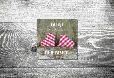 kartlerei bayrische dankeskarten hochzeit leporello klappkarte karoherzchen 400x275 - Dankeskarte mit Fotostreifen