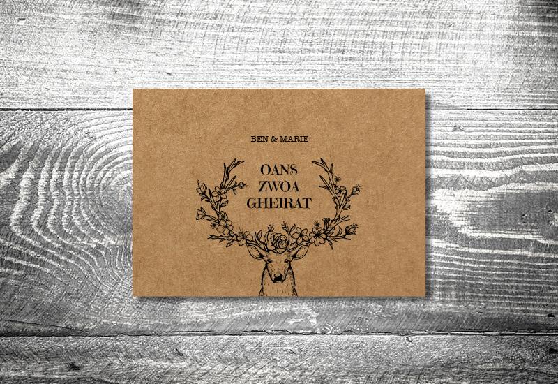 kartlerei bayrische hochzeitkarten kraftpapier edelhirsch - Hochzeitskarten Set
