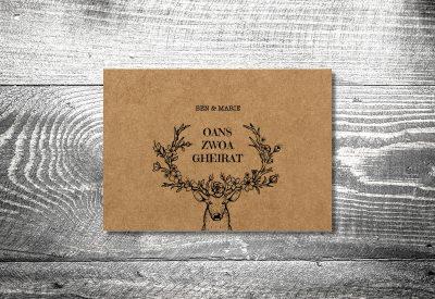 kartlerei bayrische hochzeitkarten kraftpapier edelhirsch3 400x275 - Heiraten in den Bergen