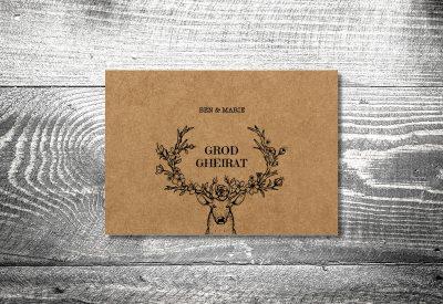 kartlerei bayrische hochzeitkarten kraftpapier edelhirsch7 400x275 - Dankeskarte mit Fotostreifen