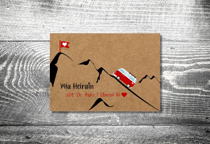 kartlerei bayrische hochzeitkarten kraftpapier foto rosi3 - Hochzeitskarten Set