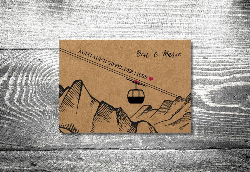 kartlerei bayrische hochzeitkarten kraftpapier gondel - Hochzeitskarten Set