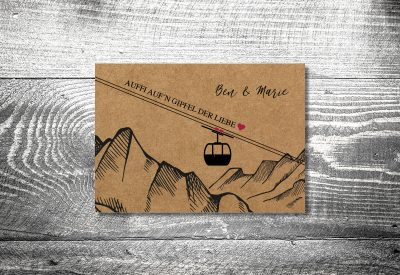 kartlerei bayrische hochzeitkarten kraftpapier gondel3 400x275 - Dankeskarte mit Fotostreifen