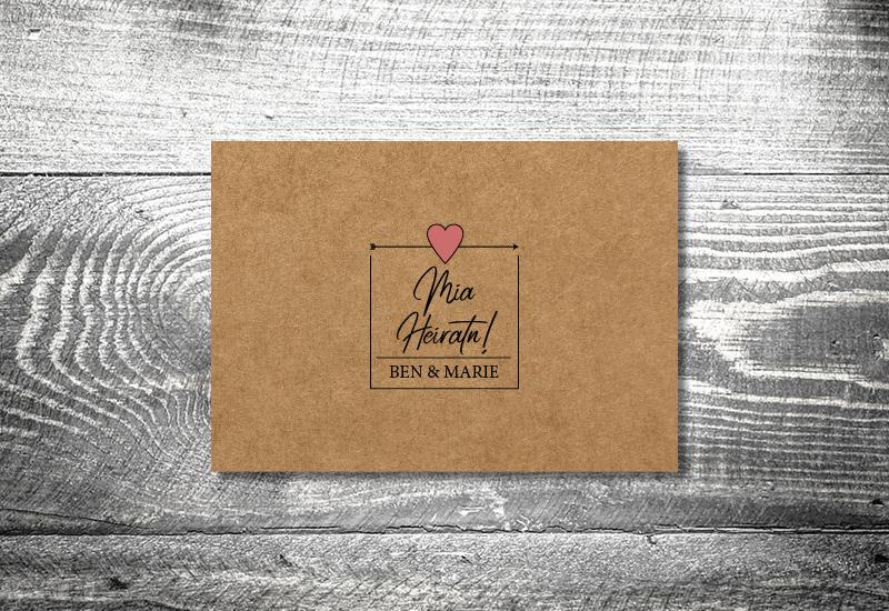 kartlerei bayrische hochzeitkarten kraftpapier herzl - Hochzeitskarten Set
