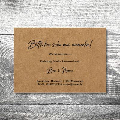 Save the Date Hirschliebe Kraftpapier