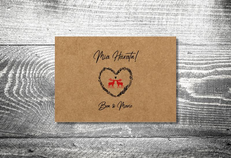 kartlerei bayrische hochzeitkarten kraftpapier hirschliebe3 - Hochzeitskarten Set