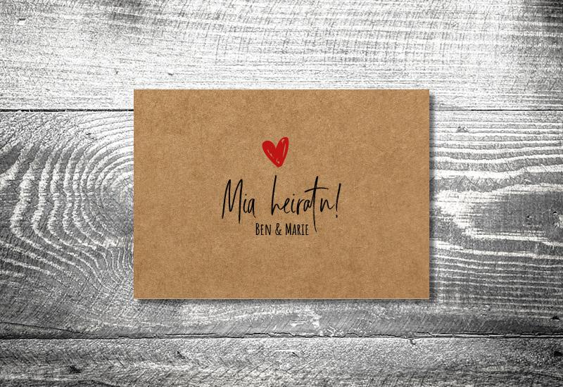 kartlerei bayrische hochzeitkarten kraftpapier liab3 - Hochzeitskarten Set