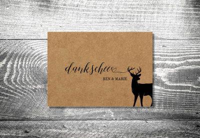 kartlerei bayrische hochzeitkarten kraftpapier schwarzer hirsch7 400x275 - Dankeskarte mit Fotostreifen