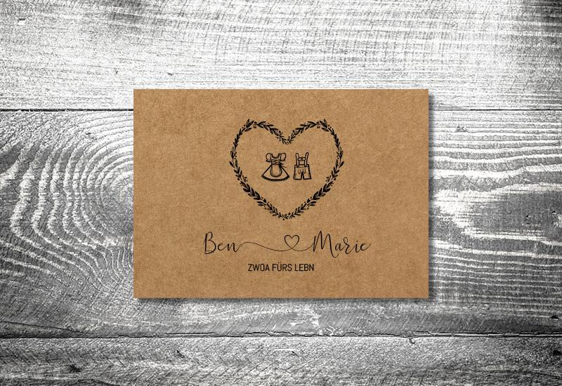 kartlerei bayrische hochzeitkarten kraftpapier tracht - Hochzeitskarten Set