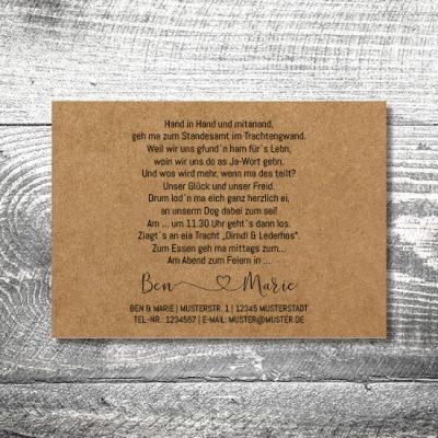 Hochzeit Tracht Kraftpapier | 2-Seitig
