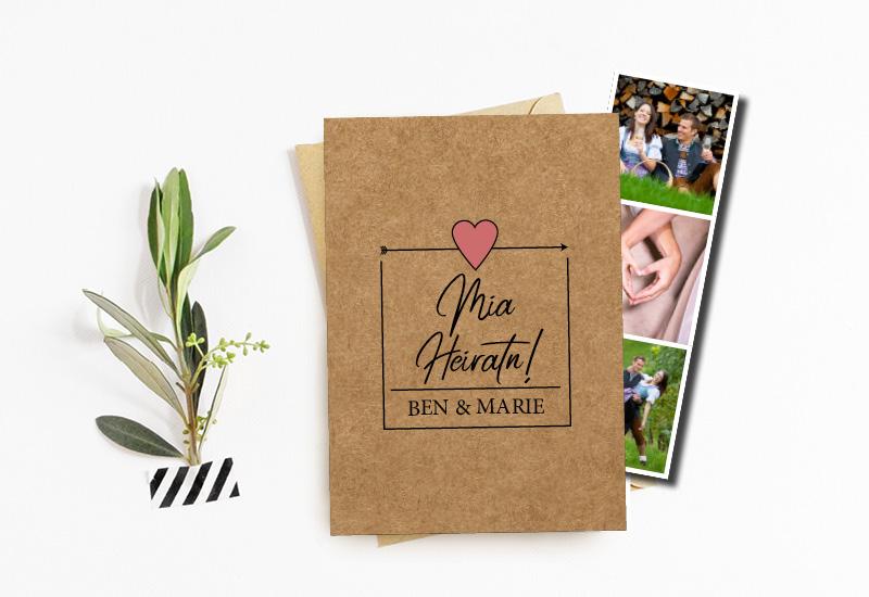kartlerei bayrische hochzeitseinladung fotostreifen3 - Hochzeitskarten