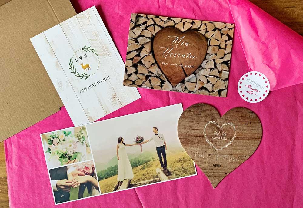 kartlerei bayrische hochzeitseinladung musterkarte musterset - Hochzeitskarten Set