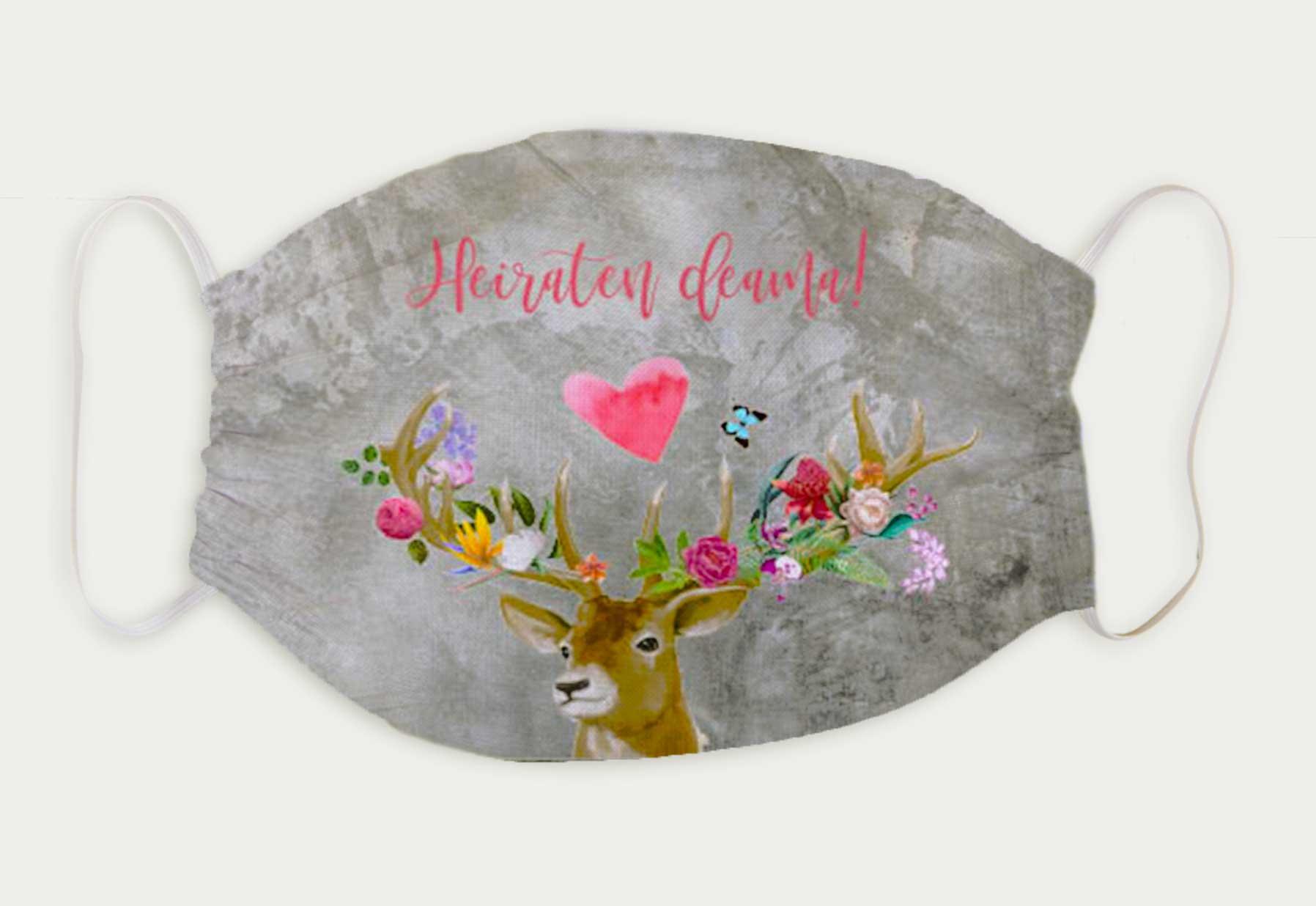 kartlerei bayrische masken mundschutz hochzeit flower power hirsch - Bayrische Masken