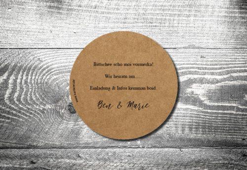 Bierdeckel Hochzeit Gondel Kraftpapier