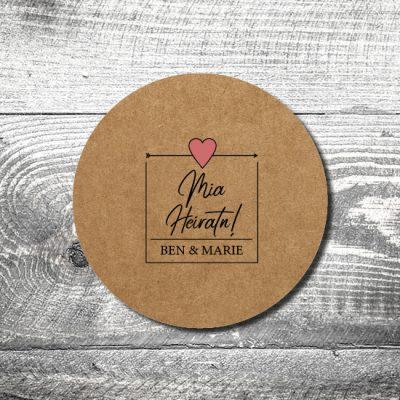 Bierdeckel Hochzeit Herzl Kraftpapier