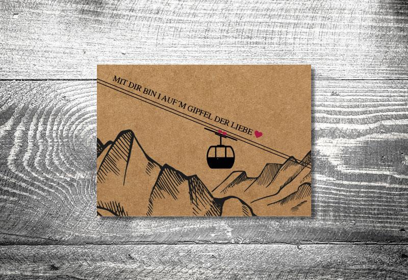 kartlerei bayrische postkarten gondel kraftpapier - Hochzeitskarten